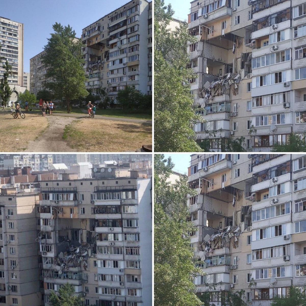 The building damaged by an explosion / Photo from Kyiv_Now on Telegram