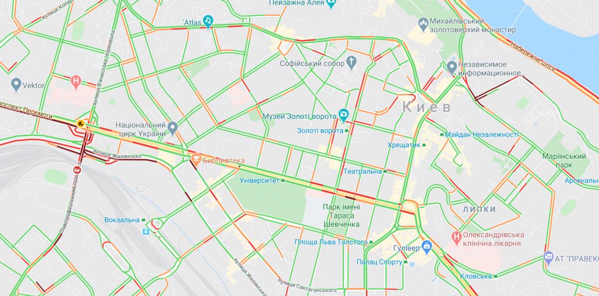 В центре Киева больших пробок нет / Google Maps