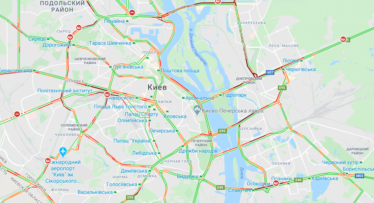 В городе произошло несколько аварий / Google Maps