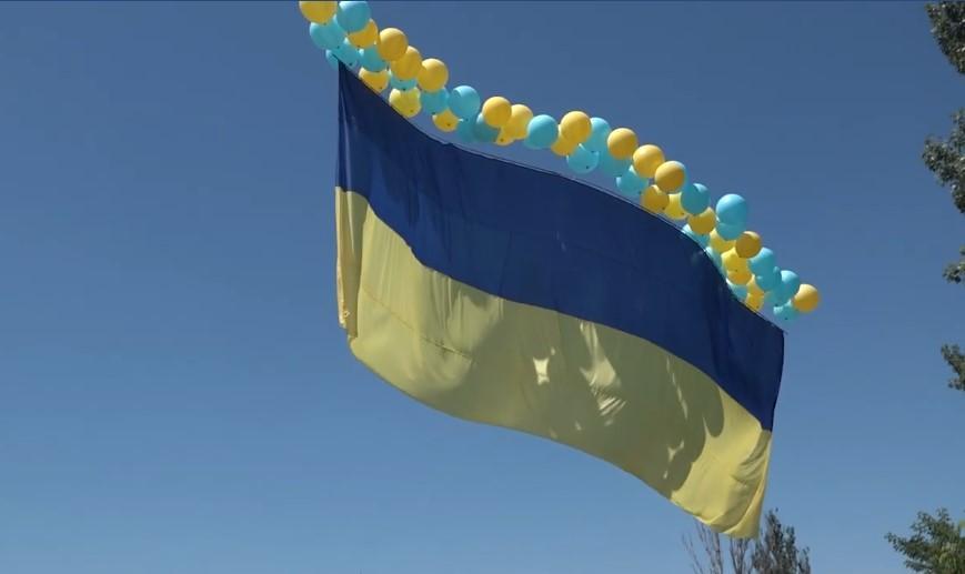 Украинский флаг пролетел над оккупированным Донецком / Скриншот