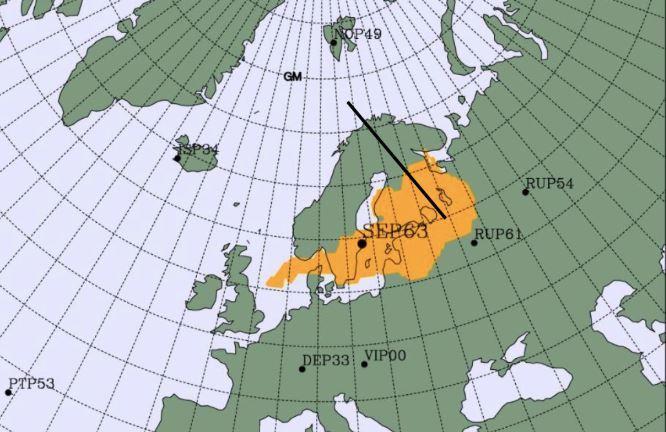 На карте видно радиоактивный ветер, который идет из России / Фото Twitter исполнительного секретаря CTBTO Лассино Зебро
