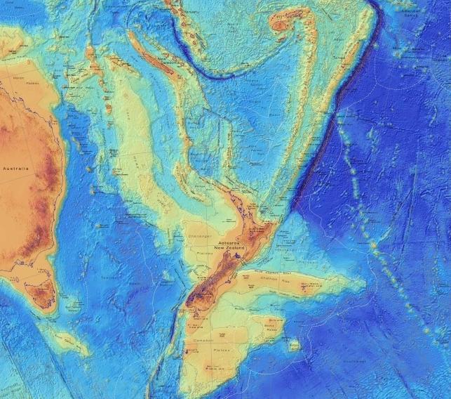 Ученые составили карту затонувшего восьмого континента / GNS Science
