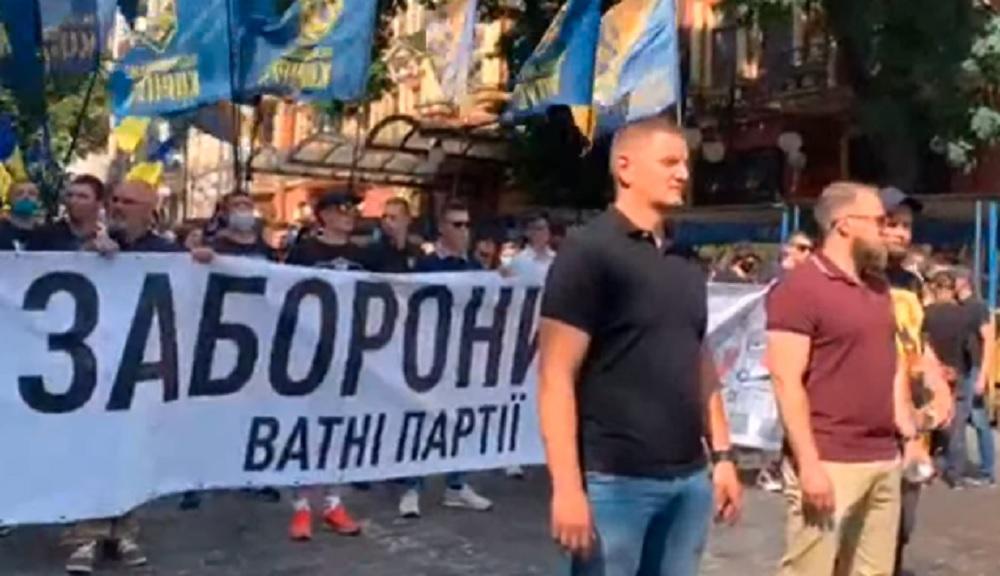 Участники протеста держат большой баннер: «Запретить ватные партии» / Скриншот