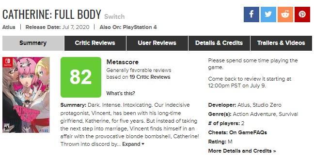 Хоч гра й вийшла 7 липня, сайт тепер пропонує користувачам написати відгук не раніше 9 липня / metacritic.com