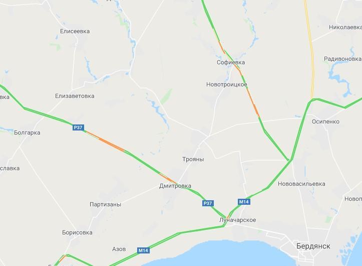 Тягучки на під'їзді до Бердянську / Скріншот Google maps