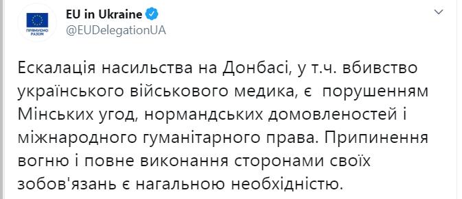 У ЄС відреагували на вбивство медика на Донбасі / скріншот