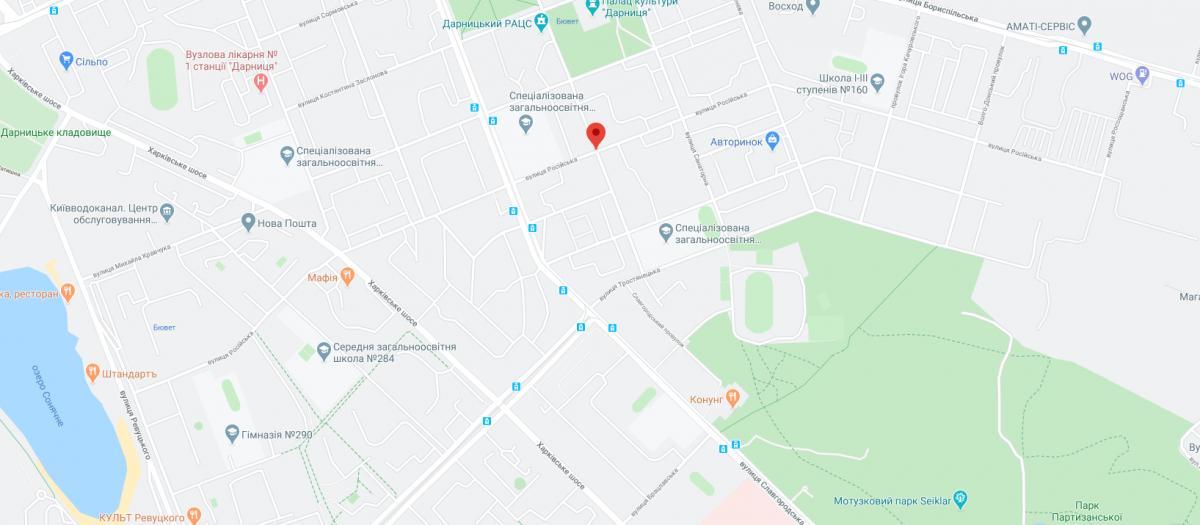 В Киеве улица Российская получила новое название / google.com/maps