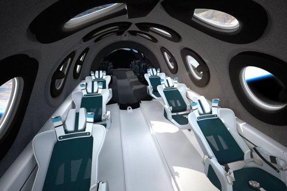 Інтер'єр туристичного космоплана VSS Unity / фото Virgin Galactic