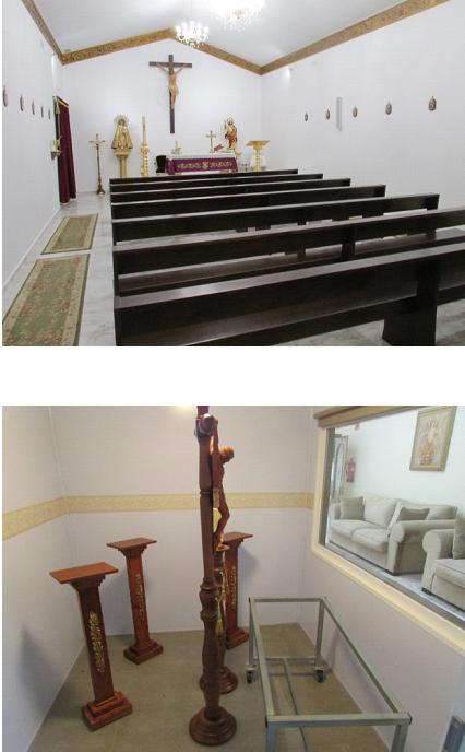 Велика і мала зали для прощання і меси Похоронного дому м. Валенсія.Мала зала з окремим боксом для труни за склом (Іспанія)