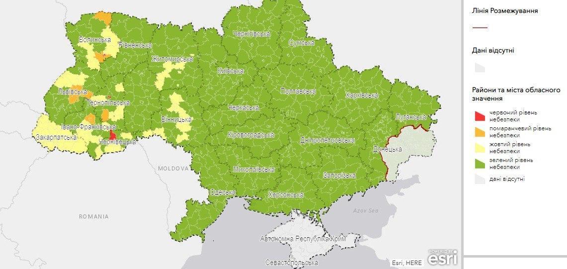 Карантинные зоны в Украине / карта МЗ