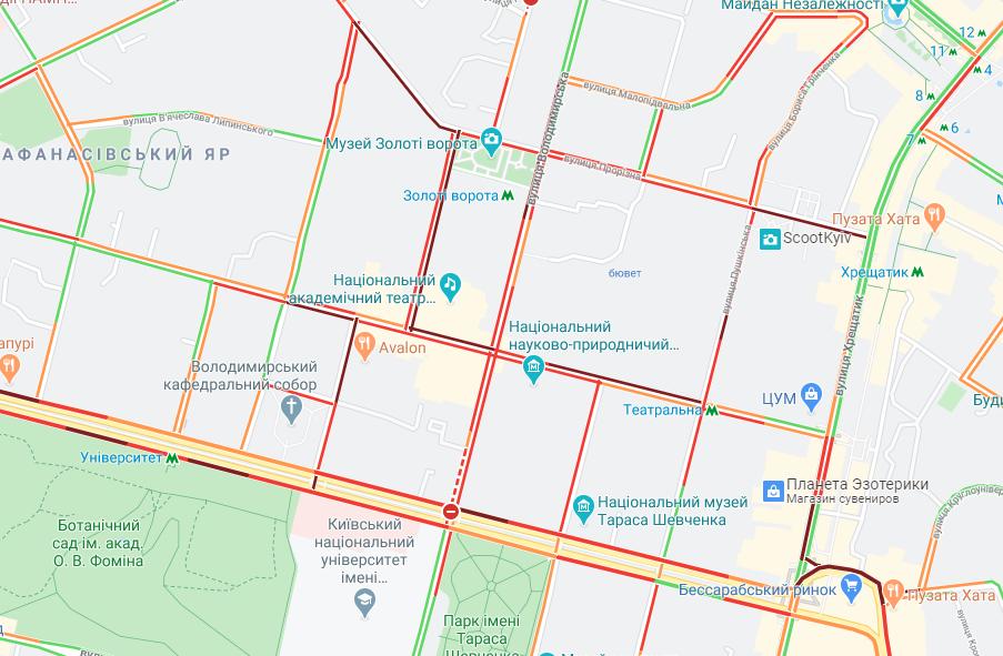 У центрі Києва утворилися затори/ Google Maps