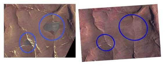 На снимках, сделанных аппаратурой NASA 14 июля 2020, ледяных шапок уже нет/ фото iflscience.com