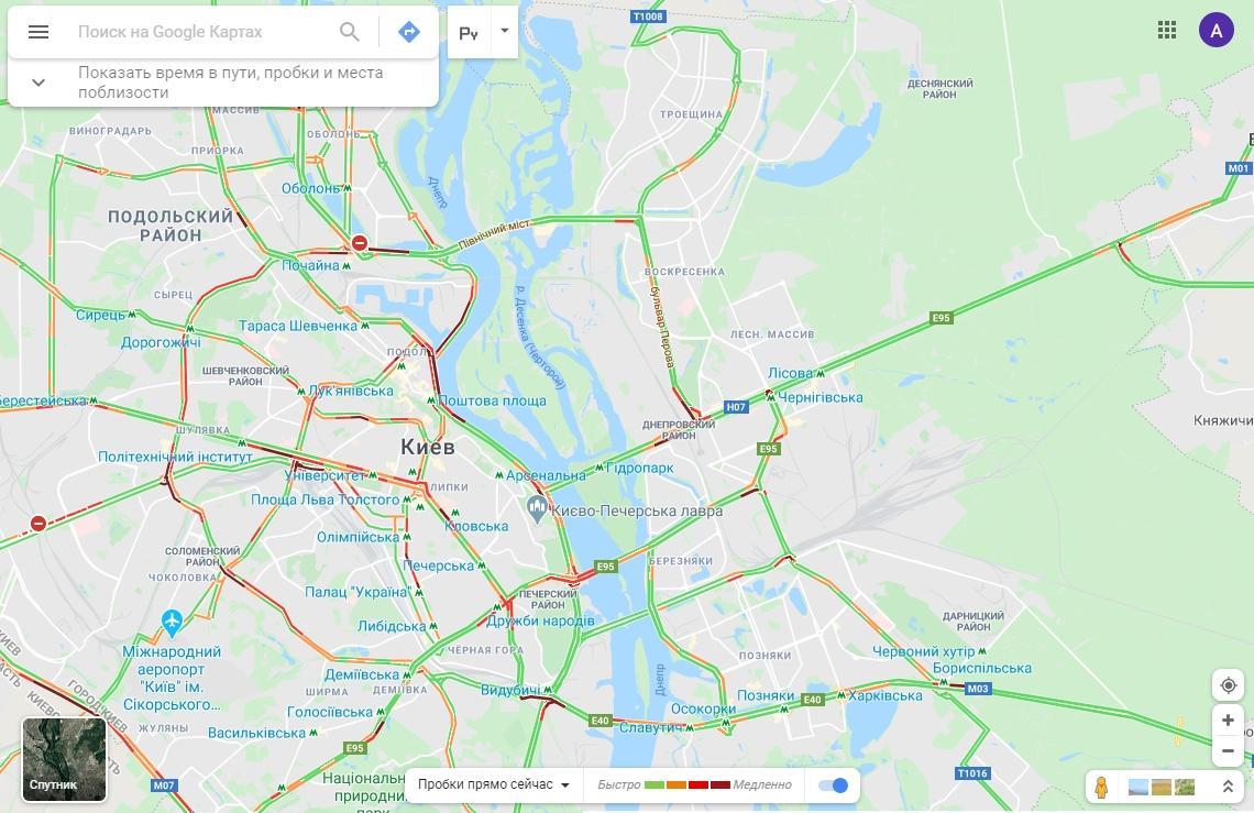 Как проехать без пробок / Google Maps