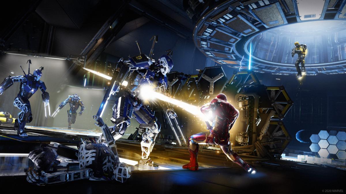 Железный Человек против роботов / фото Square Enix