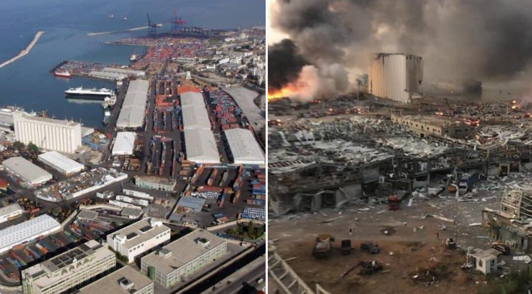 Порт у Бейруті до і після вибуху