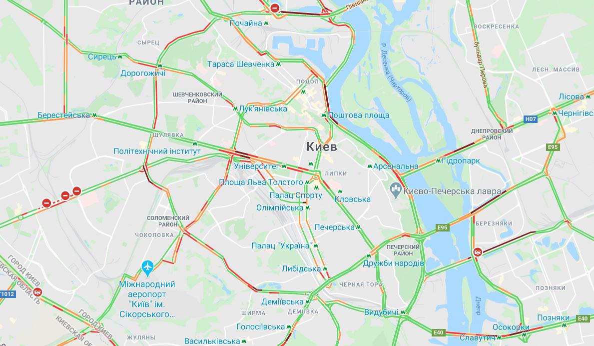 Затори на мостах Києва / Google Maps