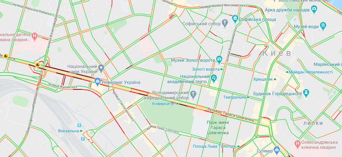 Ситуація на дорогах Києва / Google Maps