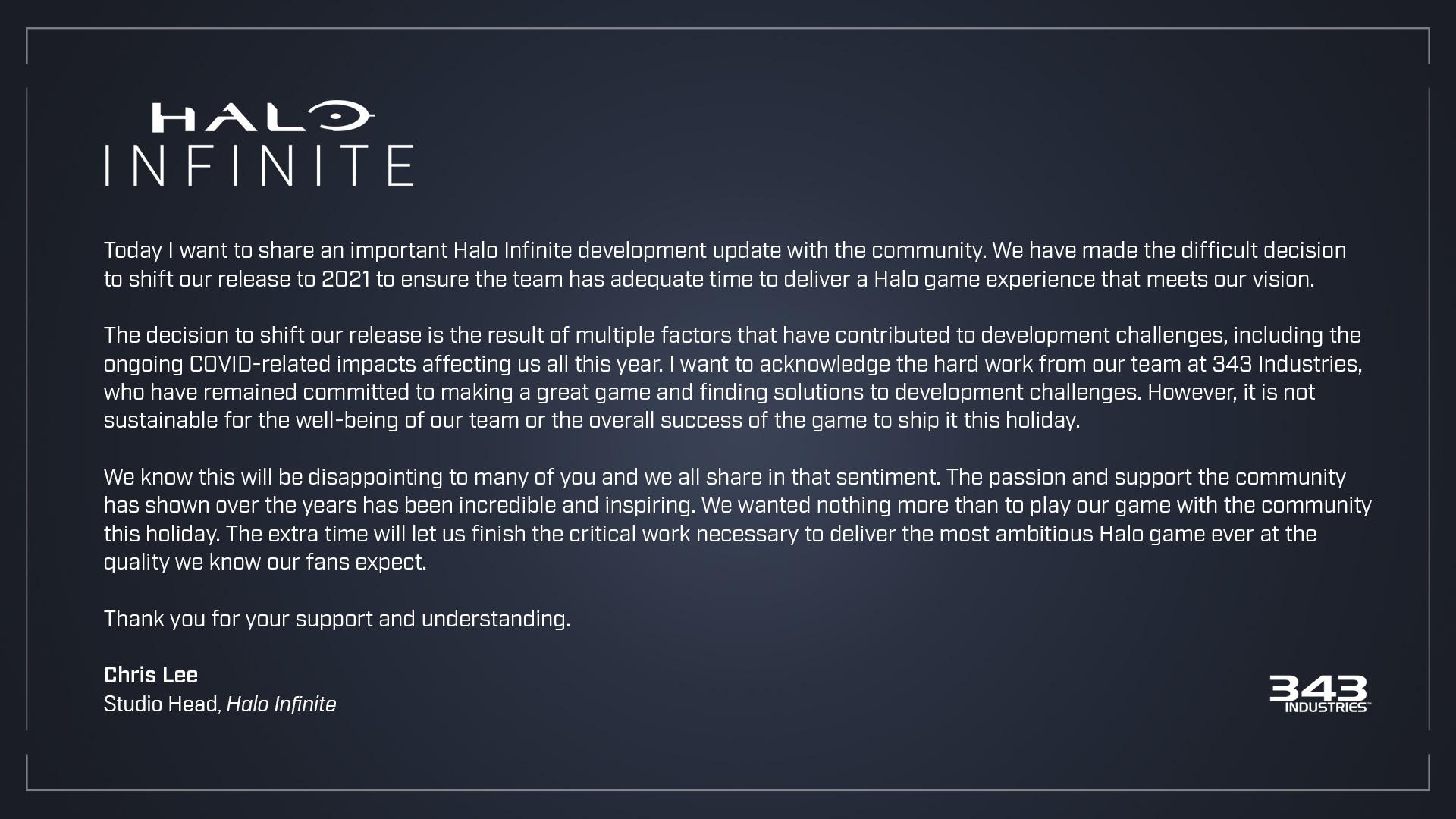Разработчики перенесли Infinite, сославшись на пандемию коронавируса / twitter.com/Halo