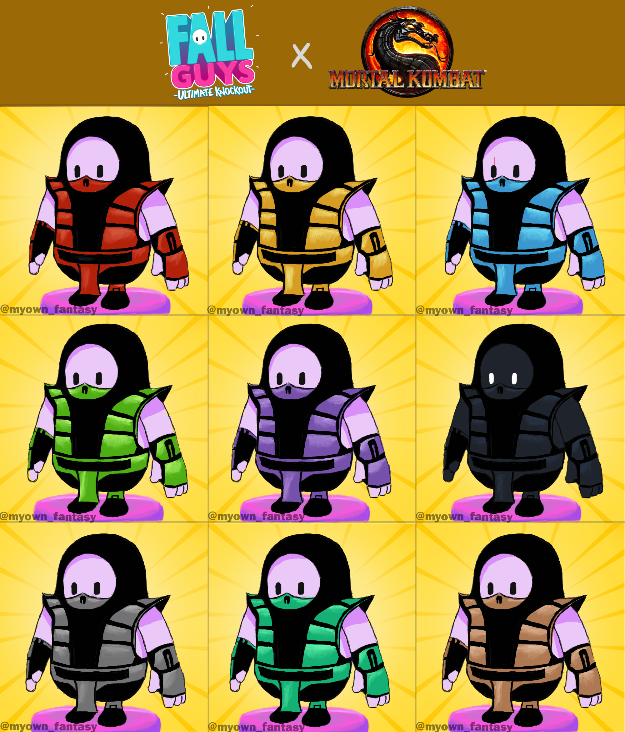 Персонажи Fall Guys в стиле бойцов Mortal Kombat / twitter.com/noobde