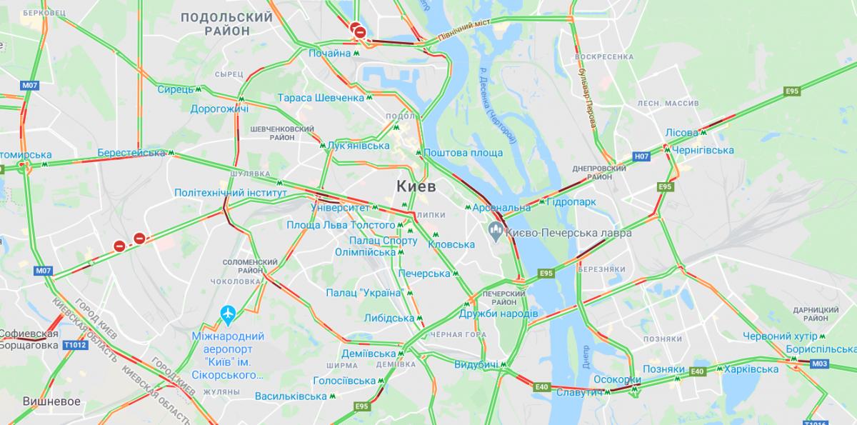 Ситуація на мостах / Google Maps