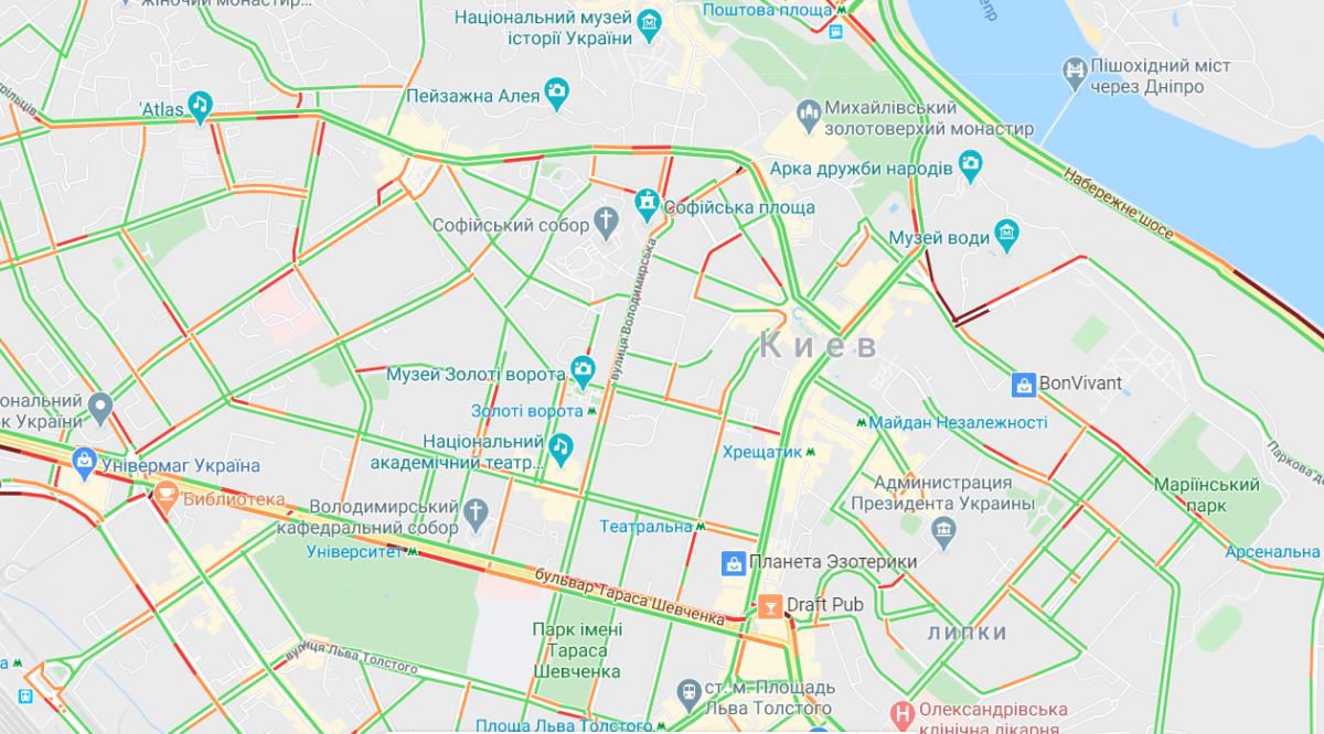 Затори в центрі Києва / Google Maps