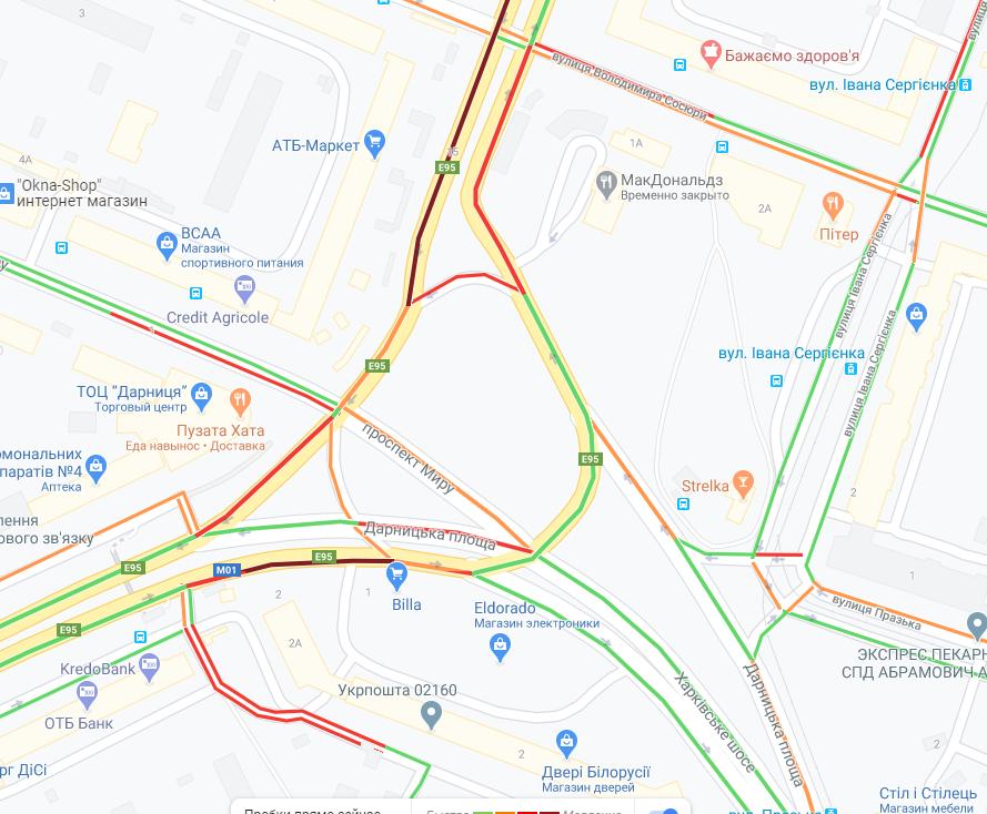 Пробки на Левом берегу / Google Maps