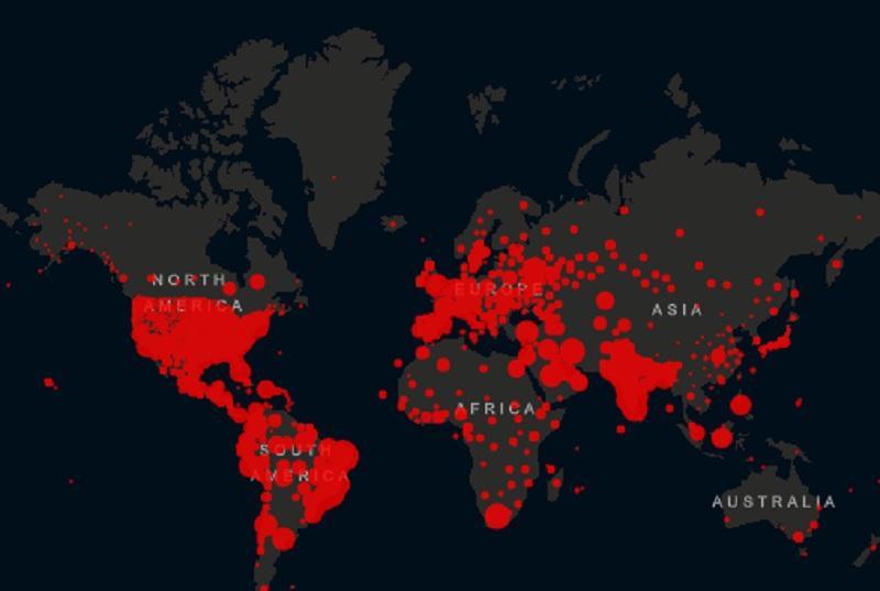 Як поширюється вірус у світі / Скріншот
