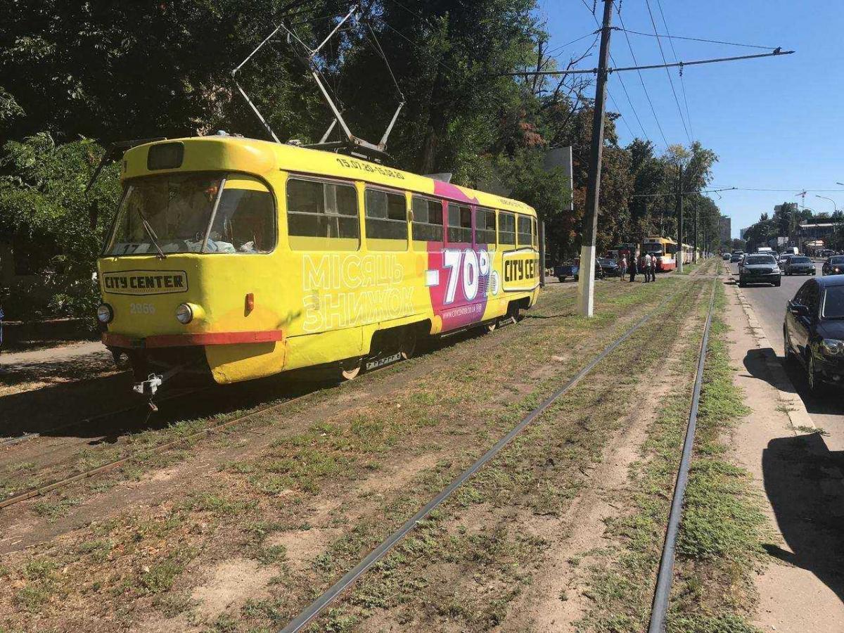 Иномарка не уступила дорогу трамваю / фото: управление патрульной полиции в Одесской области