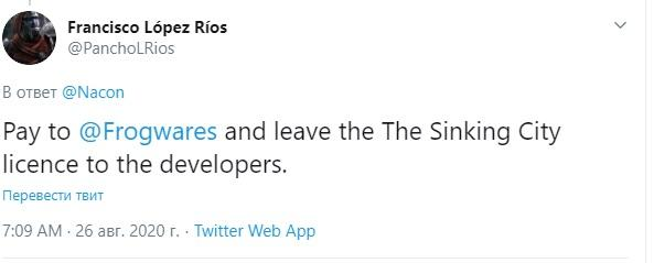 На странице Nacon в Twitter игроки высказываются в поддержку Frogwares / скриншот