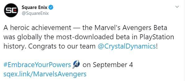 """О первом достижении """"Мстителей"""" Square Enix отчиталась в Twitter / скріншот"""
