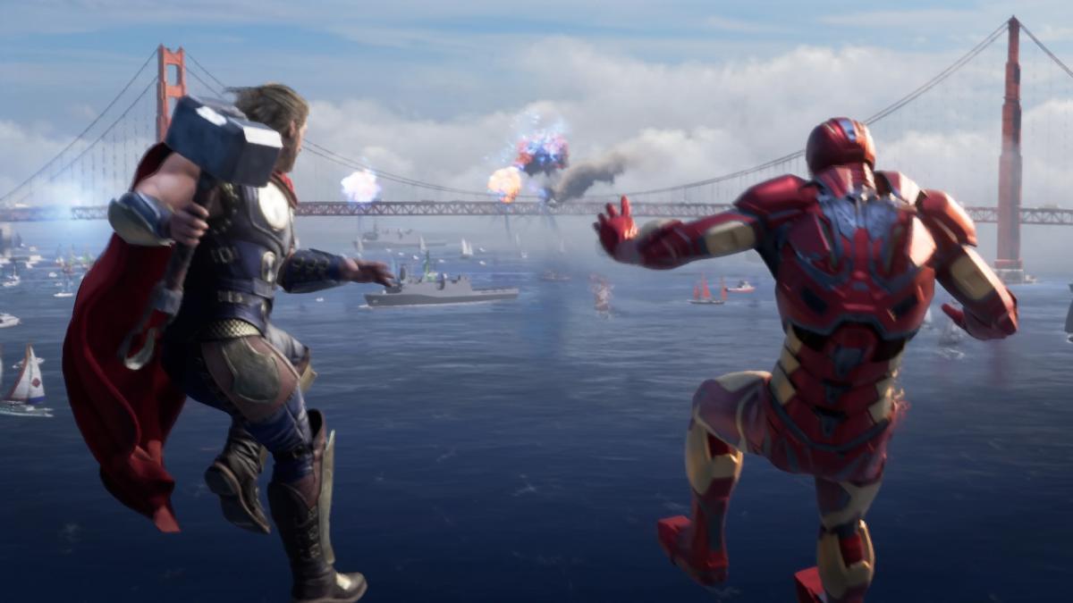 На взрыв спешат Тор и Железный Человек / скриншот