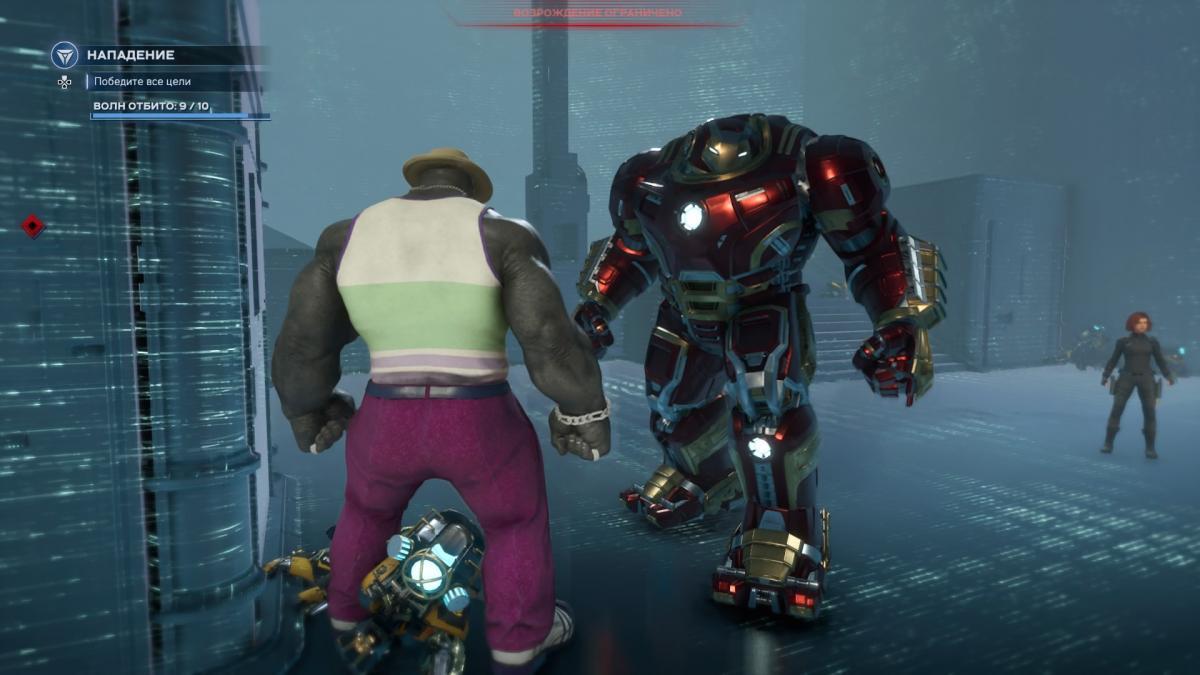 Халк и Тони Старк в Халкбастере отбивают волны врагов / скриншот