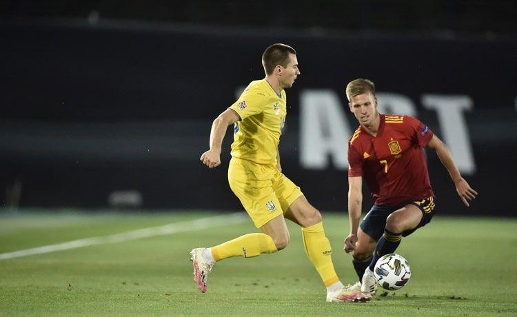 Богдан Михайличенко в матче против Испании / фото УАФ