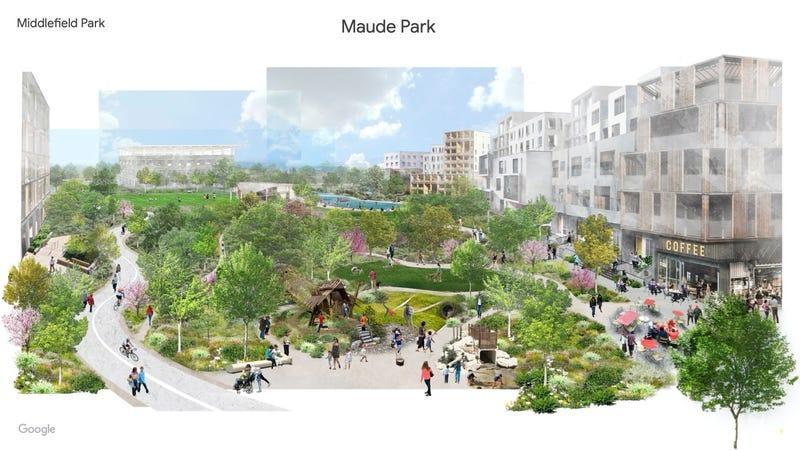 У місті будуть парки, спортивні майданчики, торгові площі, ресторани і доступне житло / ілюстрація Mountain View Voice