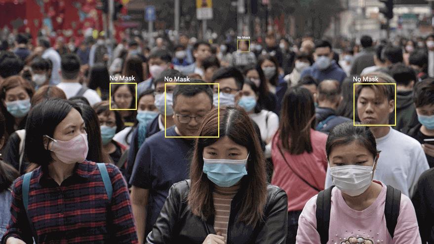Искусственный интеллект может начать следить, носят ли люди маски / фото LeewayHertz