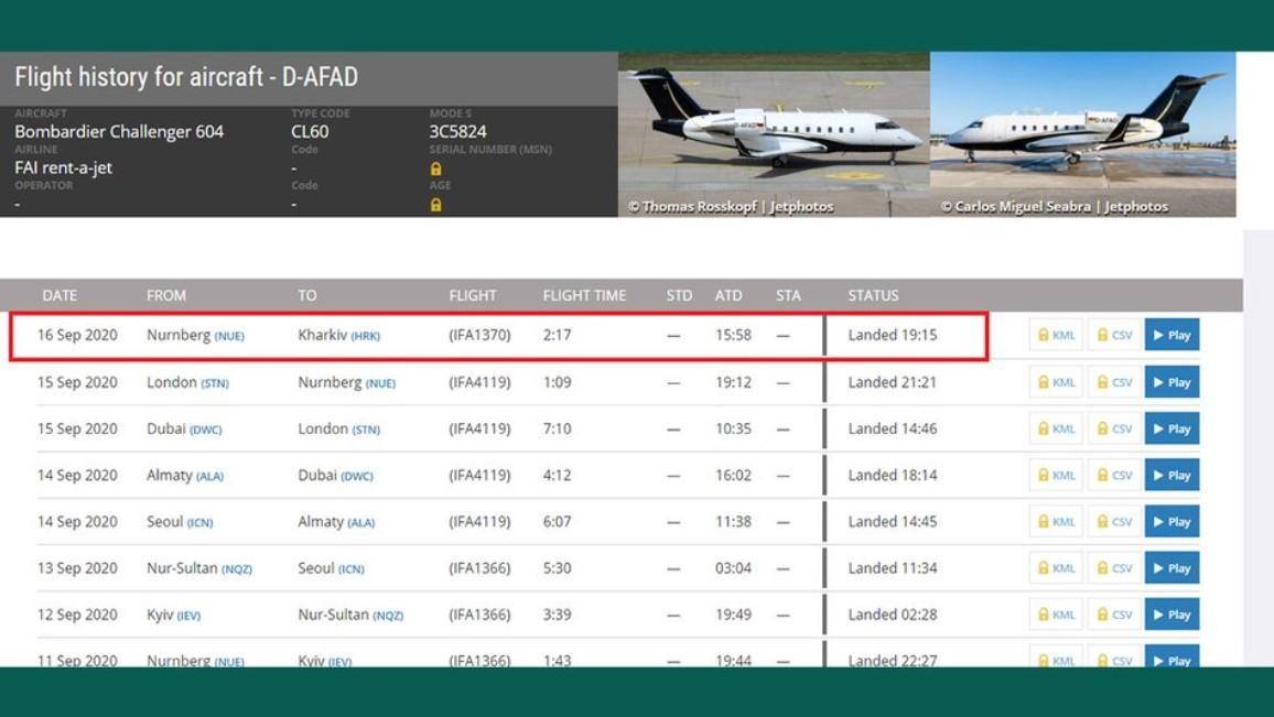 The arrival on Flightradar24 / Screenshot by Suspilne.Media Kharkiv