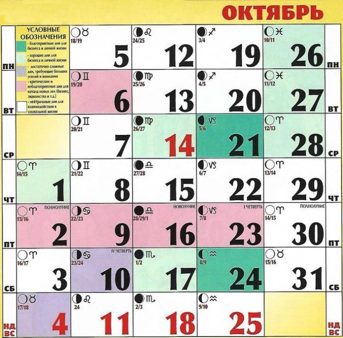 Лунный календарь на октябрь 2020 / vedmochka.net