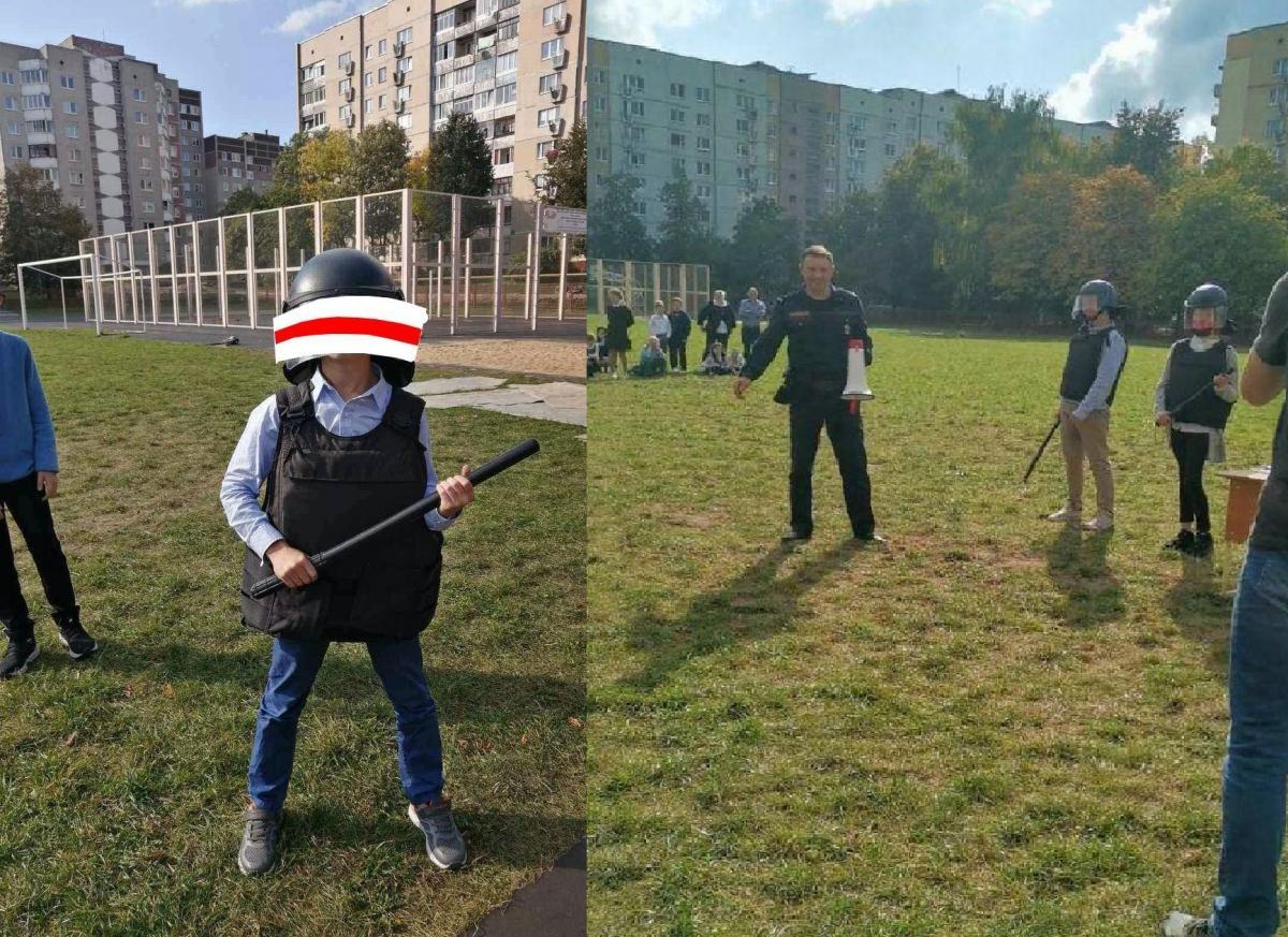 Беларусь новости - детям дали дубинки и учили разгонять протесты: фото / t.me/belsat