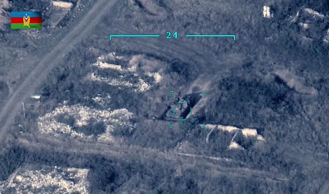 Момент поражения армянской боевой техники/ Cкриншот