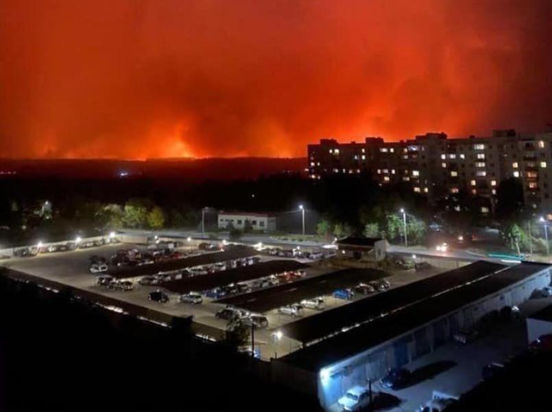 Пожежа дійшла до околиць Сєвєродонецька / фото з соцмереж