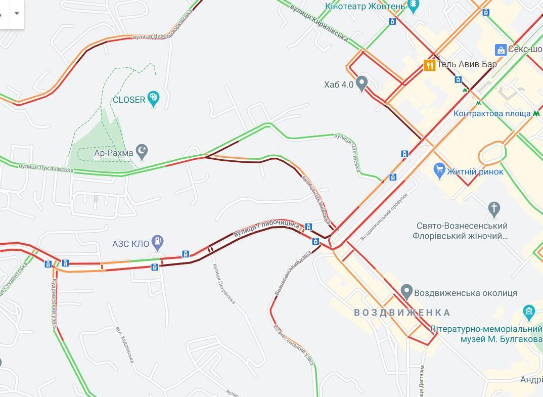 Движение на улице Глыбочицкой заблокировано / скриншот с карт Google