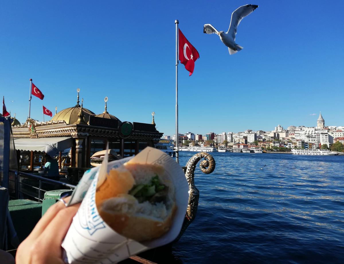 Сэндвич со скумбрией на гриле в Стамбуле / фото Марина Григоренко