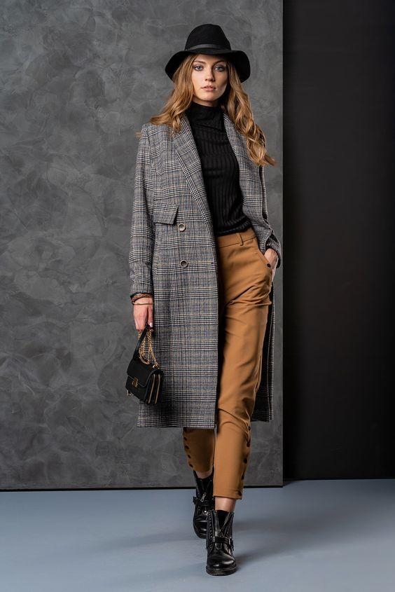 Осеннее пальто в клетку / фото pinterest.com