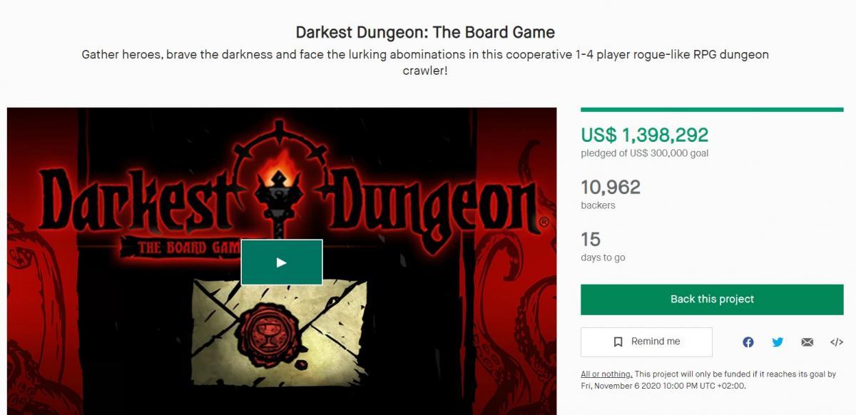 Kickstarter-кампанія зі збору коштів на настільну гру стала успішною ще до закінчення / скріншот