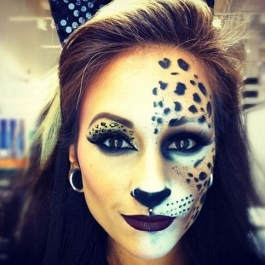 Макияж кошки на Хэллоуин / pinterest.com