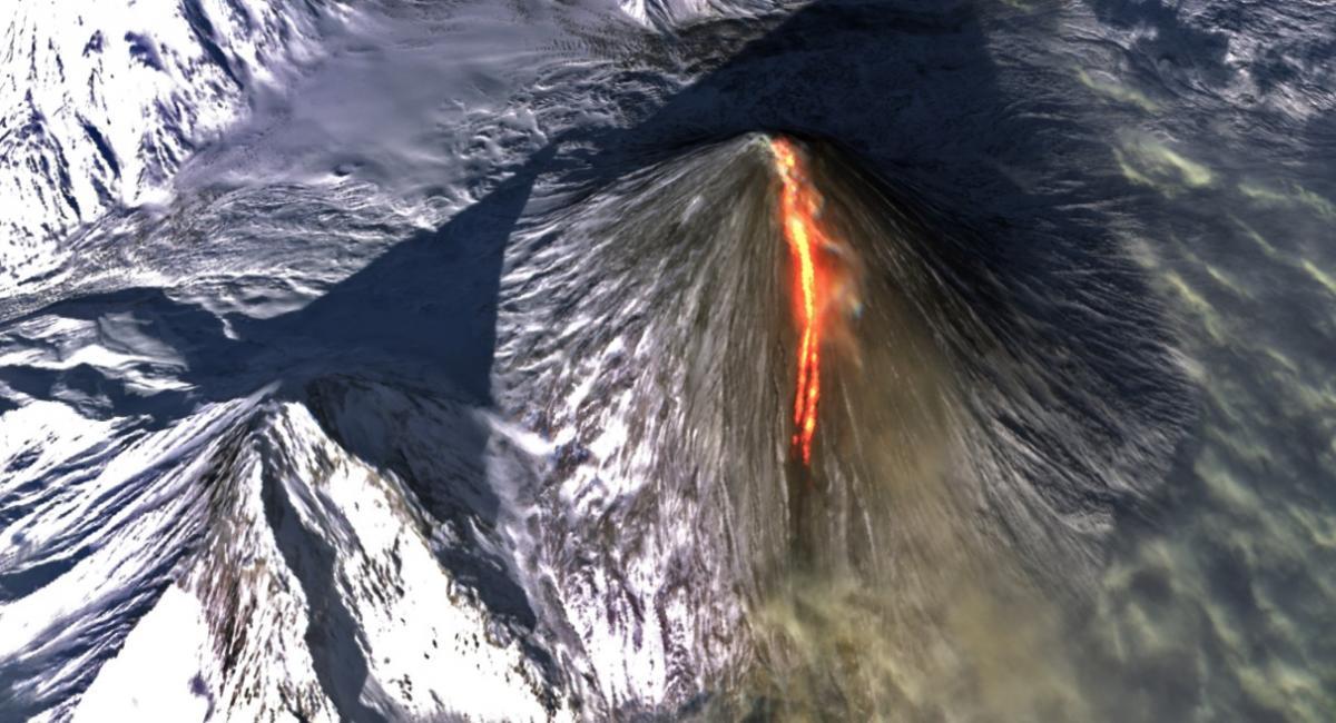 Ключевский вулкан продолжает извергаться / Фото Copernicus EU/Sentinel-2, Platform Adam