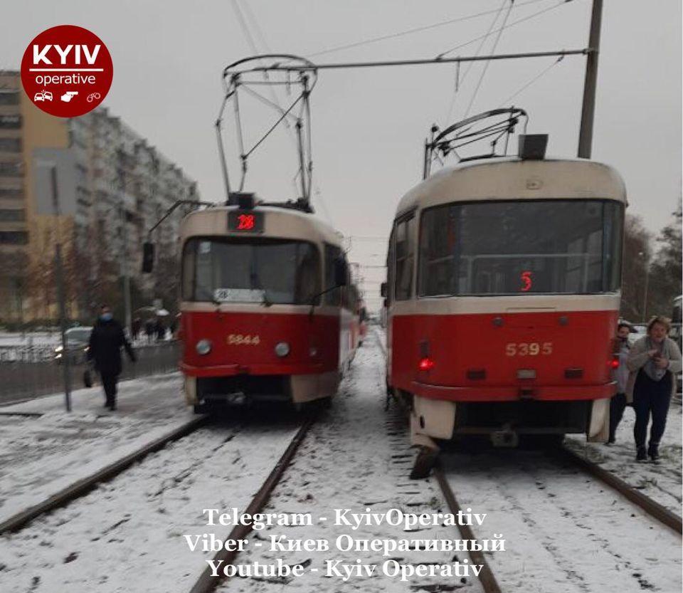 Рух трамваїв було заблоковано / Киев Оперативный Facebook