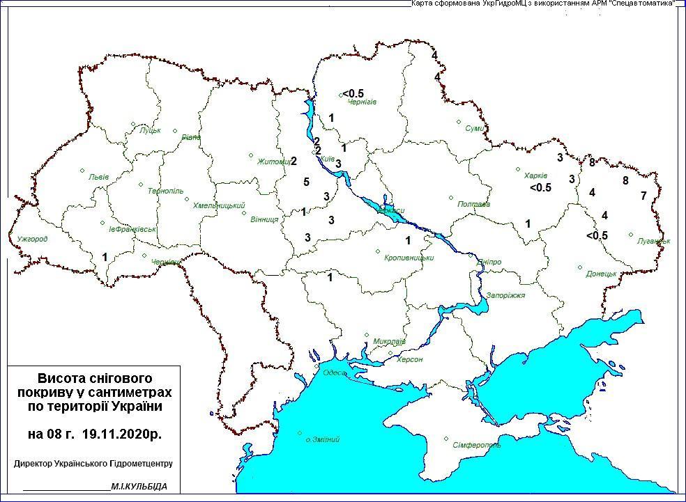 Карта снежного покровав Украине19 ноября / Укргидрометцентр