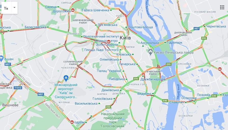 Данные google.com/maps о ситуации на дорогах Киева