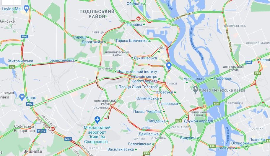 Дані google.com/maps про ситуацію на дорогах Києва